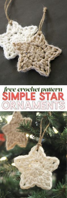 Easy Crochet simple crochet star - christmas ornament - free crochet pattern - These simple Christmas crochet stars are a free pattern that makes a fun and easy holiday project! Crochet Christmas Decorations, Crochet Ornaments, Christmas Diy, Christmas Patterns, Simple Christmas Gifts, Crochet Ornament Patterns, Knit Christmas Ornaments, Crochet Christmas Gifts, Christmas Snowflakes
