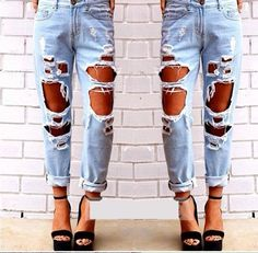 Online Cheap Ripped Jeans Denim Joggers Knee Holes Slim Fit Jeans For Women Blue Rock Star Womens Jumpsuit Destroyed Jeans Boyfriend Pencil Pants By Fashionwest Loose Jeans, Jeans Denim, Trouser Jeans, Ripped Denim, Sexy Jeans, Torn Jeans, Distressed Denim, Waisted Denim, Blue Jeans