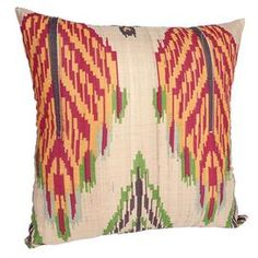 Handcrafted silk pillow with a mutlicolor tribal leaf motif.    Product: PillowConstruction Material: SilkColor: MultiFeatures: Insert included HandcraftedWill enhance any dcor  Dimensions: 18 x 18