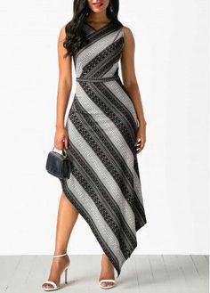 V Neck Printed Asymmetric Hem Sleeveless Dress on sale only US$34.42 now, buy cheap V Neck Printed Asymmetric Hem Sleeveless Dress at liligal.com