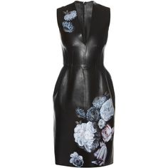 Alexander McQueen Hand-painted flowers leather dress (196.885 RUB) ❤ liked on Polyvore featuring dresses, vestido, short dresses, alexander mcqueen, black multi, mini dress, pastel short dresses, short leather dress and alexander mcqueen dresses