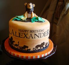 Angel Cakes hand painted lion king birthday cake
