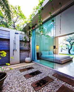 Love an outdoor shower! Oh and those frameless glass sliding doors are pretty gorgeous too!! #homedesign #lifestyle #style #designporn #interiors #decorating #interiordesign #interiordecor #architecture #landscapedesign