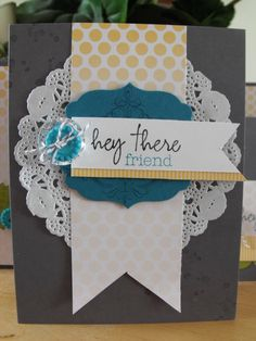 Stampin' Up! Paper Pumpkin monthly kit with a few stampin up extras - label framelit and paper doily