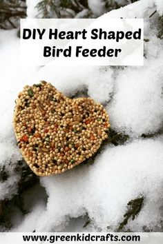 Adorable heart shaped bird feeders you can make with your kids! Give birds an extra treat with a DIY bird feeder activity. Green Crafts For Kids, Winter Crafts For Kids, Crafts To Do, Diy For Kids, Kids Crafts, Winter Activities For Kids, Science For Kids, Steam Activities, Science Fun