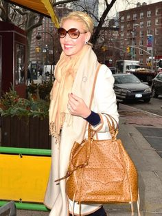 Tan ostrich leather tote inspired by Katherine Heigl #accessories #purse