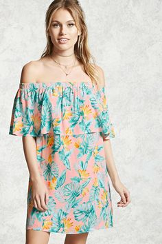 Forever 21 Contemporary - A semi-sheer woven dress featuring an allover foliage and floral print, an elasticized off-the-shoulder neckline, a flounce layer with short sleeves, and a shift silhouette.