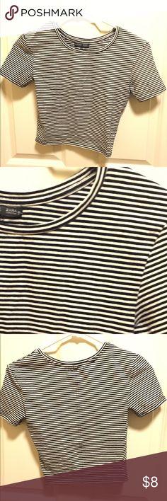 Zara Stripe Crop Top Zara black and white snug fitting crop top worn twice, on excellent condition. Zara Tops Crop Tops