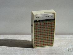 Vintage Continental Six Transistor Radio ~ Portable Pocket ~ Unique Tan Brown Green Plaid by RetrOAmyO on Etsy