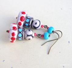 Hippie earrings Polka dot Colorful Gypsy soul by CocoFlowerShop