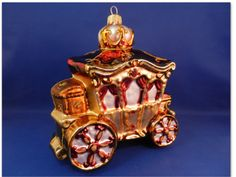 Lg Cinderella carriage Poland mouth blown Glass Christmas Ornament 020018