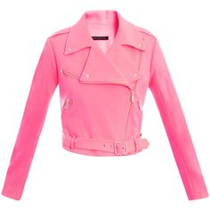 CHRISTOPHER KANE Crepe biker jacket ($425) ❤ liked on Polyvore featuring outerwear, jackets, coats, tops, pink, coral, motorcycle jacket, slim fit jacket, pink motorcycle jacket and moto jacket