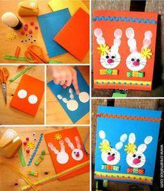 Carte_de_Paques_Empreintes_doigt Easter Art, Easter Crafts, Easter Bunny, Kids Crafts, Preschool Crafts, Easter Projects, Projects For Kids, Class Projects, Easter Activities