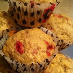 Strawberry Banana Muffins. I did use 2 eggs instead of yogurt and made everything else the same. Yum yum, even without the extra sugar. www.egglesscookin...