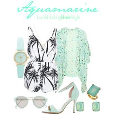 Aquamarine by totingtheirstyle on Polyvore featuring polyvore fashion style NLY Trend AX Paris Wanderlust + Co River Island