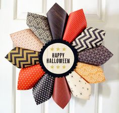 Scrapbook paper thanksgiving wreath-- fun addition to the holiday!