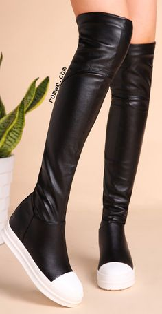 Black PU Cap Toe Flat Knee Boots
