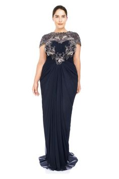 Tadashi Shoji Corded Lace and Draped Tulle Gown - PLUS SIZE