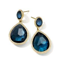 IPPOLITA LOLLIPOP® TEARDROP EARRINGS IN 18K GOLD WITH DIAMONDS (COLOR: LONDON BLUE TOPAZ) BY IPPOLITA. #ippolita #