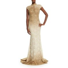 Jovani Cap-Sleeve Sequined Lace Gown ($810) ❤ liked on Polyvore featuring dresses, gowns, gold, jovani evening dresses, lace gown, sequin dress, sequin gown and white lace gown