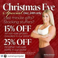 Still need gift for that someone special?? Get in to Nutrishop Mt Juliet and save some money while finishing your shopping!! Best supplements with best prices #Repost @nutrishopmtjuliet with @repostapp.  CHRISTMAS EVE SPECIAL Stop by Nutrishop Mt. Juliet and take advantage of these amazing savings!! We will be open from 10AM-1PM my friends!! The BEST part of this special we're including 6Pack Fitness bags at 25% OFF too!!  #christmaseve #special #wefuelmtjuliet #wefuelhermitage #nutrishop…
