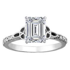 Emerald Cut Diamond Celtic Knot Engagement Ring with Diamond Accents in 14K White Gold