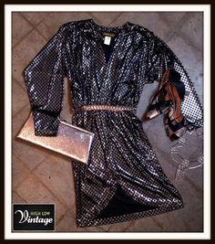 Vintage Black & Silver Slinky Cocktail Disco by HighLowVintage