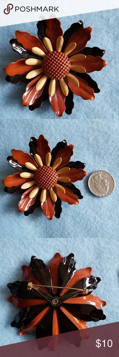 ENAMEL Flower Brooch Vintage pin Beautiful condition 1955 Vintage Jewelry Brooches