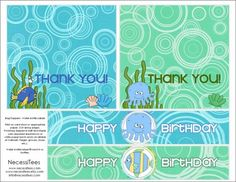 free printables under the sea birthday bag toppers and water bottles labels