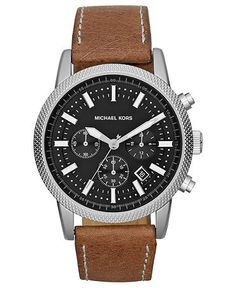 Michael Kors Watch, Men's Chronograph Scout Brown Leather Strap 43mm MK8309