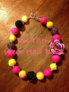 Hot Pink, Yellow, and Black Chunky Bead Necklace with Polymer Clay Flower For Little Girls, Infant, Kids Chunky Bead Jewelry,  Photo Prop, Kids Big Beads, Large Bead, Bubblegum, Gumball Beads on Etsy, $15.00