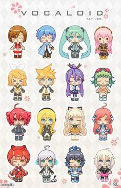 let's play the naming game! XD Meiko, Kaito, Miku, Luka, Rin, Len, Gakupo, Gumi, Teto, Neru or Lily?, SeeU, don't know, don't know, Piko, don't know, IA