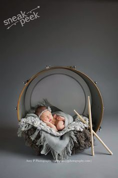 Newborn musician photo shoot with drum www.amypphotography.com