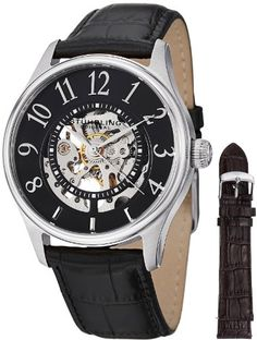 Stuhrling Original Mens 746LSET02 Delphi Solaris Automatic Skeleton Black Watch with Additional Strap ** Click on the image for additional details. (This is an affiliate link and I receive a commission for the sales)