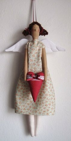 Angel of love tilda style tilda with a heart, angel del amor, hogar от UnBonDiaHandmade