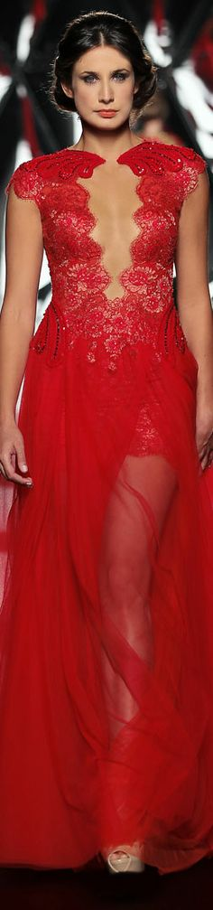 The Mireille Dagher Fall-Winter 2013-14 Haute Couture Collection #sexy #red #dress