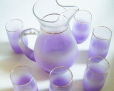 25% Off Storewide West Virginia Glass Blendo 7 Piece Lavender Pitcher And Tumbler Glass Set