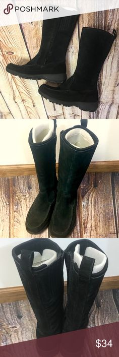 """LANDS' END BLACK SUEDE LEATHER BOOTS Perfect pair of boots for your outdoor winter activities. They have normal wear with rubs on the suede from wear but in excellent condition otherwise. A good suede cleaner could help...Tread on the soles are still in very good condition. Shaft length 12"""" calf circumference 16"""". Zip entry Lands' End Shoes Winter & Rain Boots"""