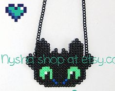 Toothless How to Train your Dragon handmade custom pixel art hama beads chibi necklace keychain earrings