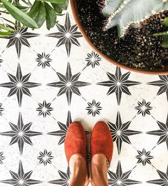 Cutting Edge Stencils step-by-step tutorial for stenciled floor design over cement. Large collection of reusable stencils for DIY makeovers and cement floors.