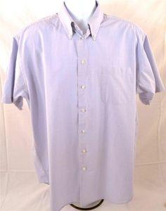 Nautica Men's Size 17 XL Short Sleeve 100% Cotton Oxford Blue Dress Shirt #Nautica