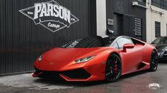 Chrome Red Lambo Huracán full Wrap by Parson Garage