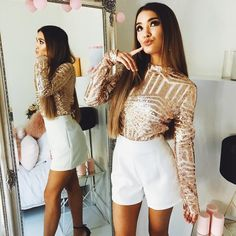 Girl Closet, Gold Sequins, White Shorts, Personal Style, Rose Gold, Street Style, Dance, Party, Outfits