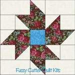 Scrappy Fabric Pinwheel Flower Easy Pre-Cut Quilt Blocks Kit