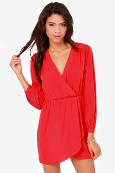 That's a Wrap Bright Red Long Sleeve Dress at Lulus.com!