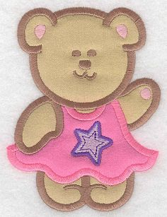 Teddy Bear girl in Dress double applique large | Applique Machine Embroidery Design or Pattern