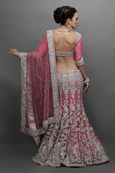 Beautiful pink lengha back