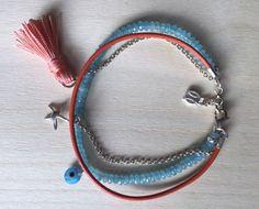 Blue quartz, evil eye, orange tassle, sterling silver and genuine leather bracelet by MastoriJewelry on Etsy