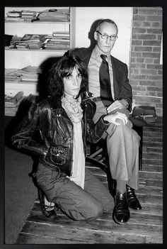 """""""patricialeesmith:  patti smith and william burroughs at his home, franklin street nyc, 1975. photo by kate simon.  """""""