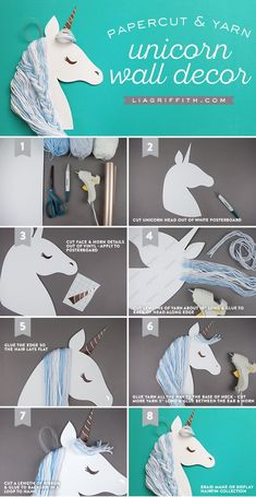 DIY Paper Unicorn Wall Art — Craft With Your Kids Make your own DIY Unicorn wall art with your kids Will make this a party activity for my daughter's next birthday. Make your own DIY Unicorn wall art with your kids Walls of Whimsy ✨ Do you have a lit Unicorn Wall Art, Unicorn Rooms, Party Unicorn, Unicorn Birthday Parties, Diy Birthday, Rainbow Unicorn, Diy Craft Projects, Diy And Crafts, Craft Ideas